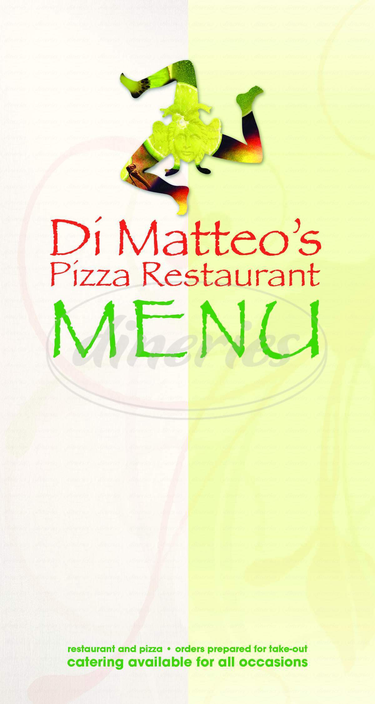 menu for Di Matteo's Italian Restaurant and Pizza