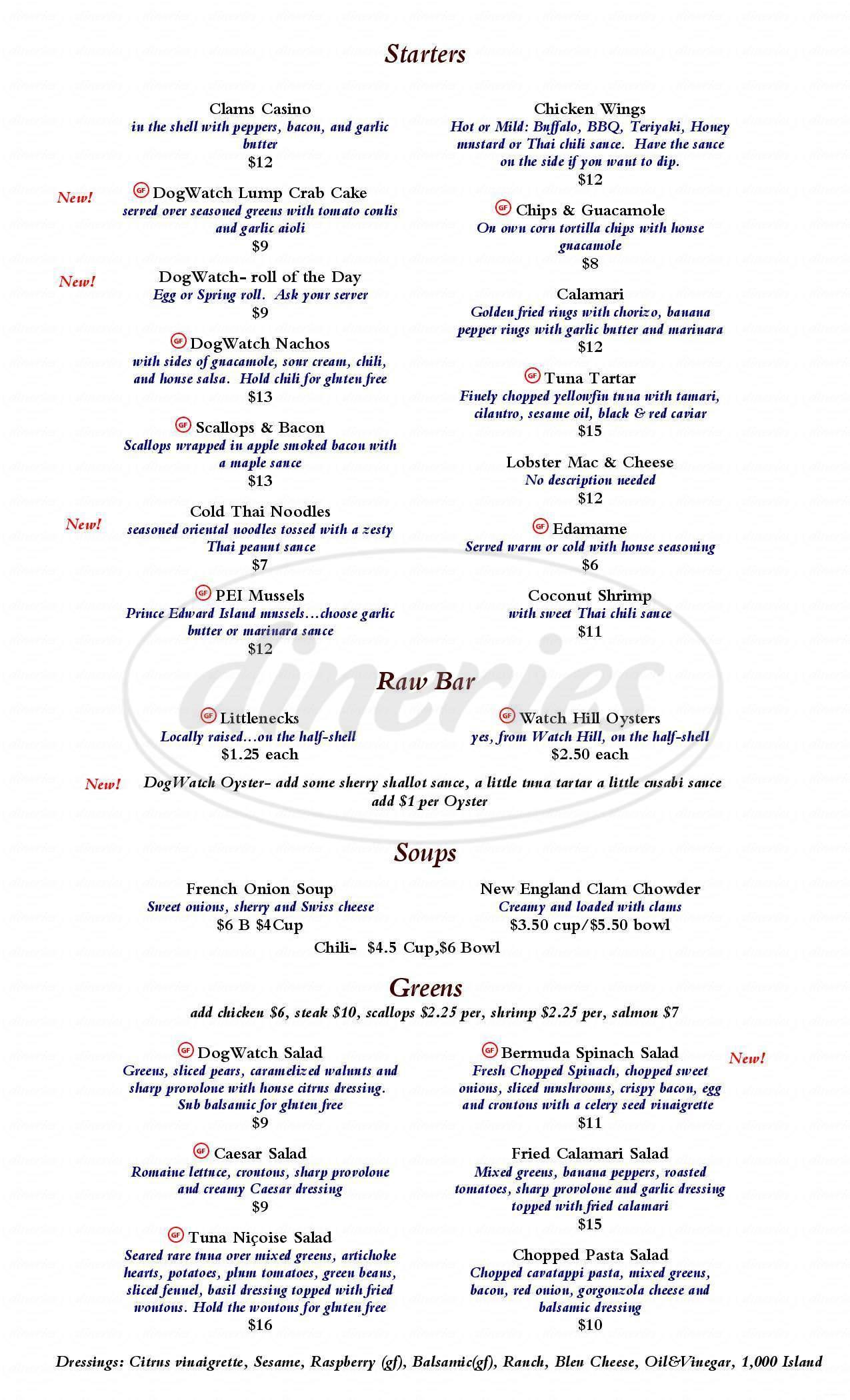 menu for The Dogwatch Cafe
