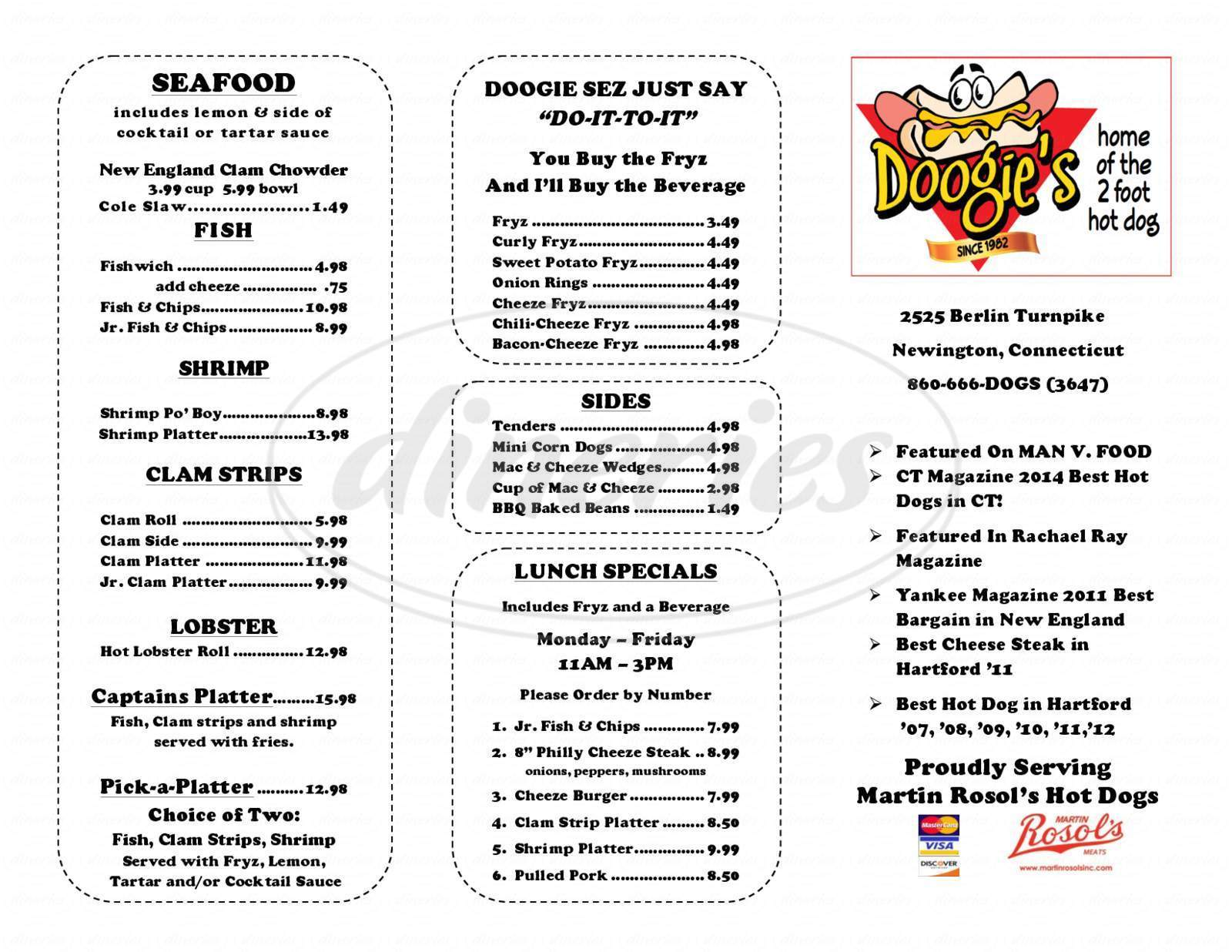menu for Doogie's