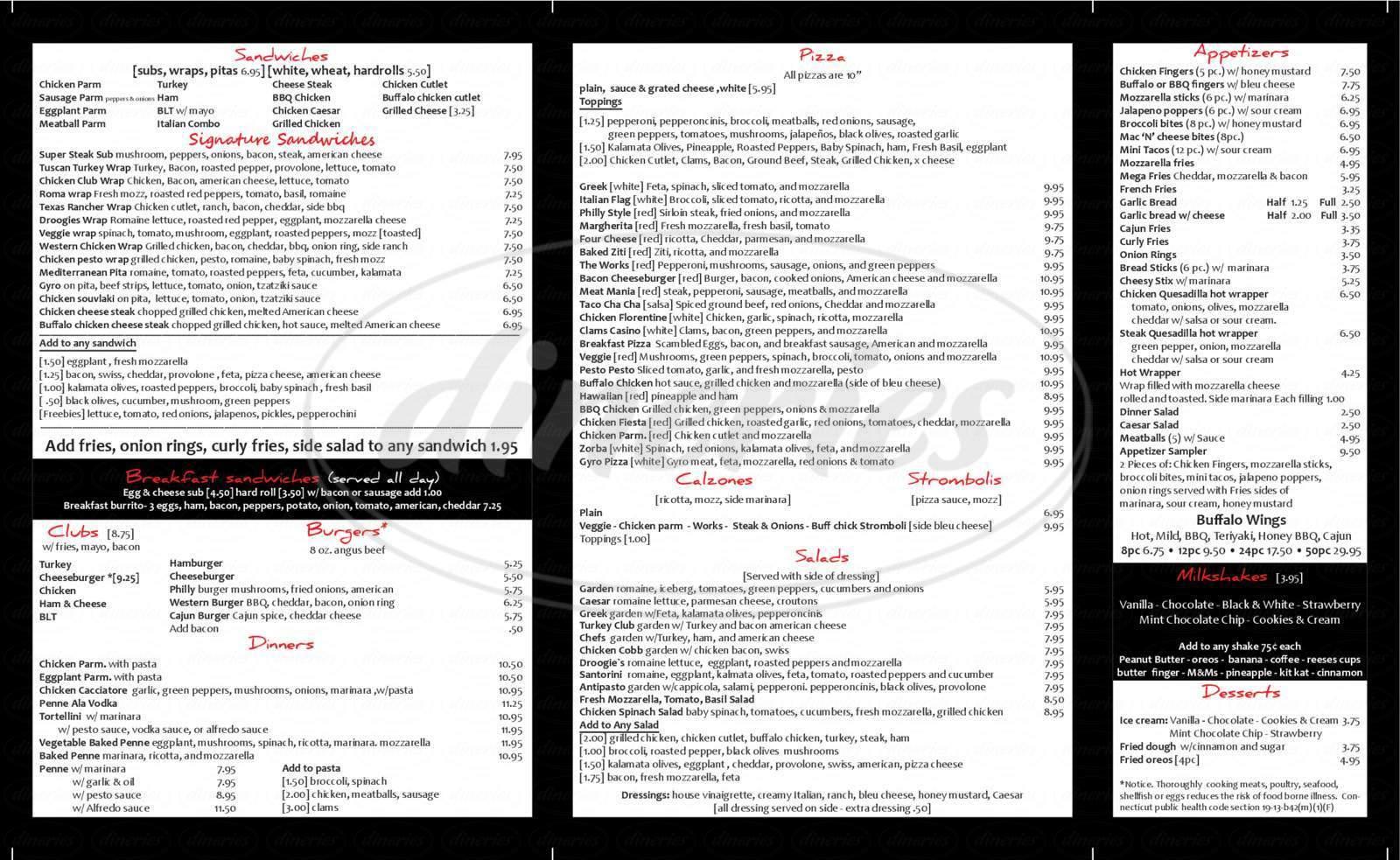 menu for Droogies Pizza