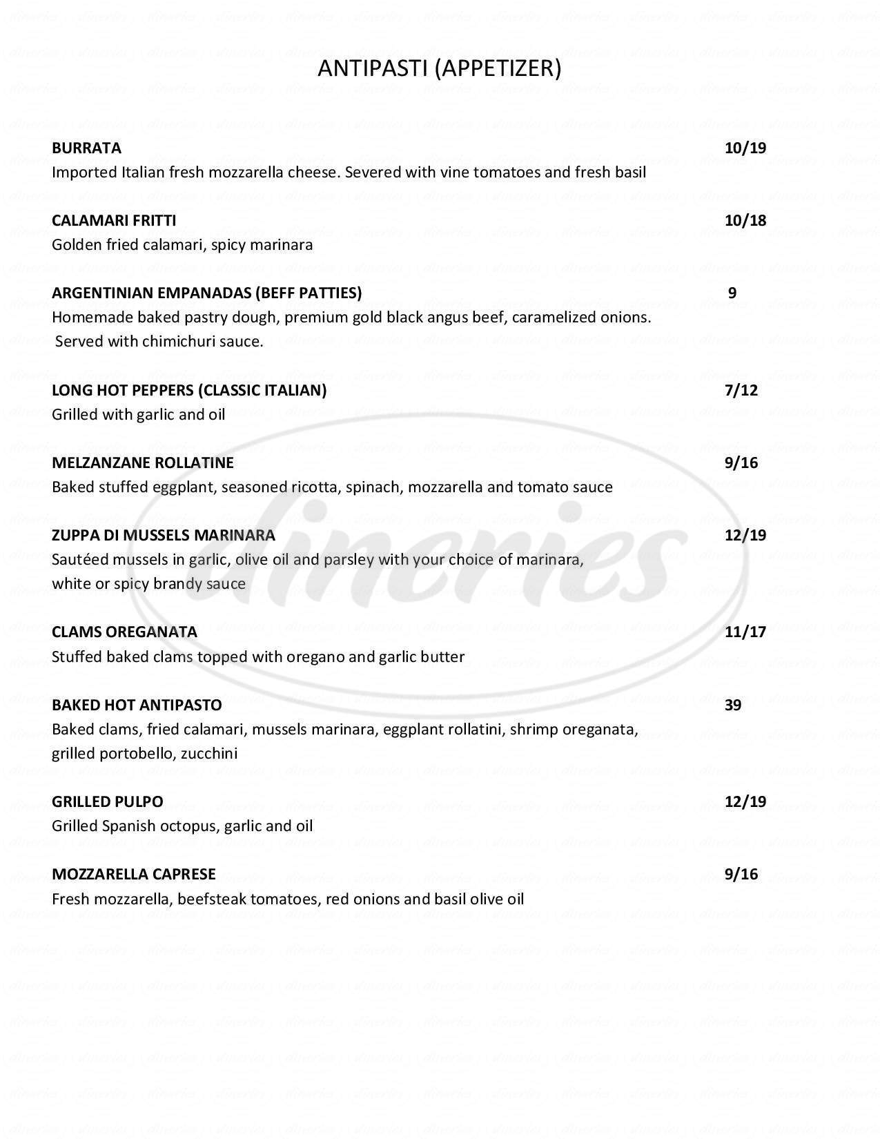 menu for Eclisse Restaurant of Stamford