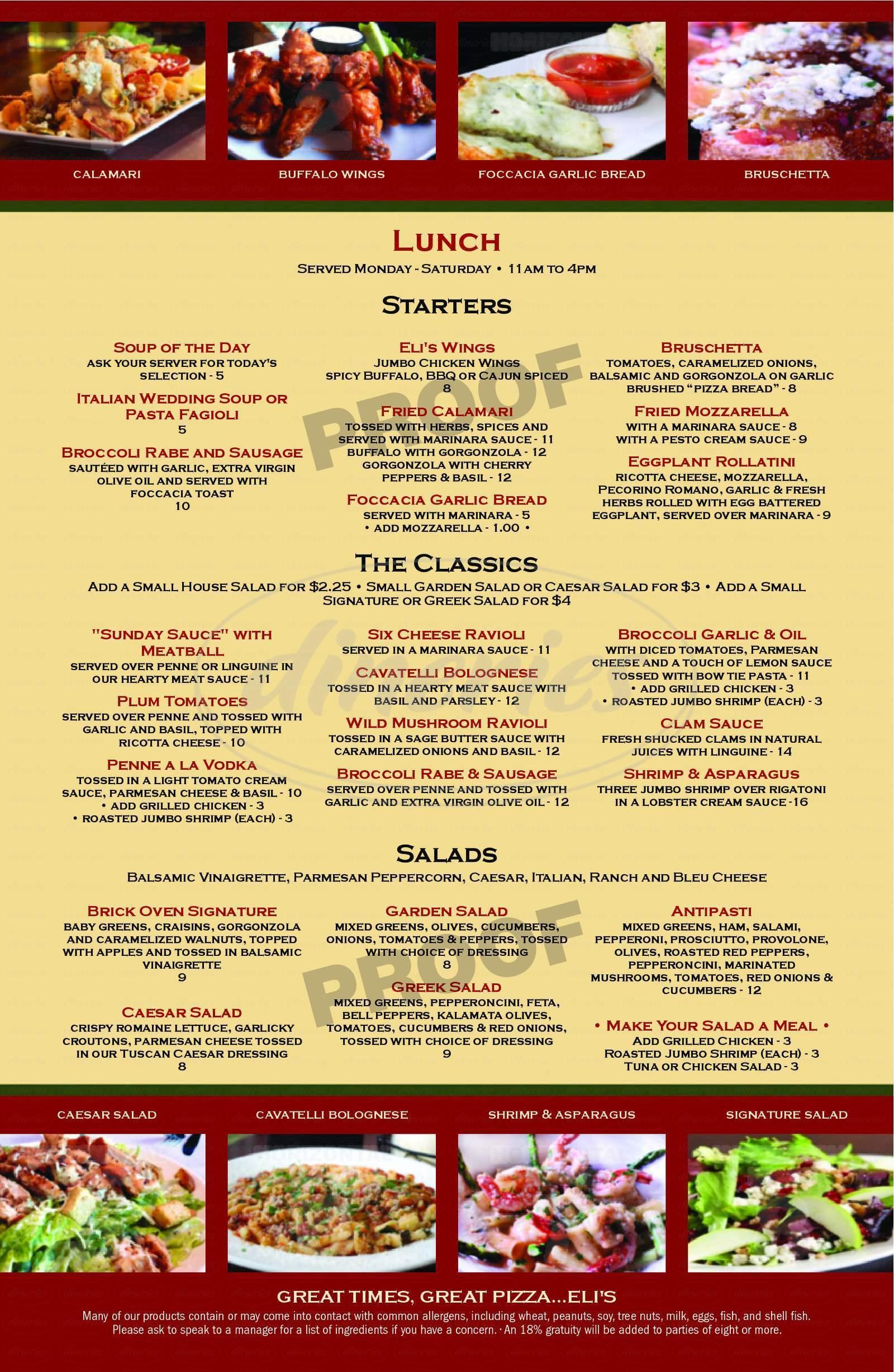 menu for Eli's Brick Oven Pizza Market