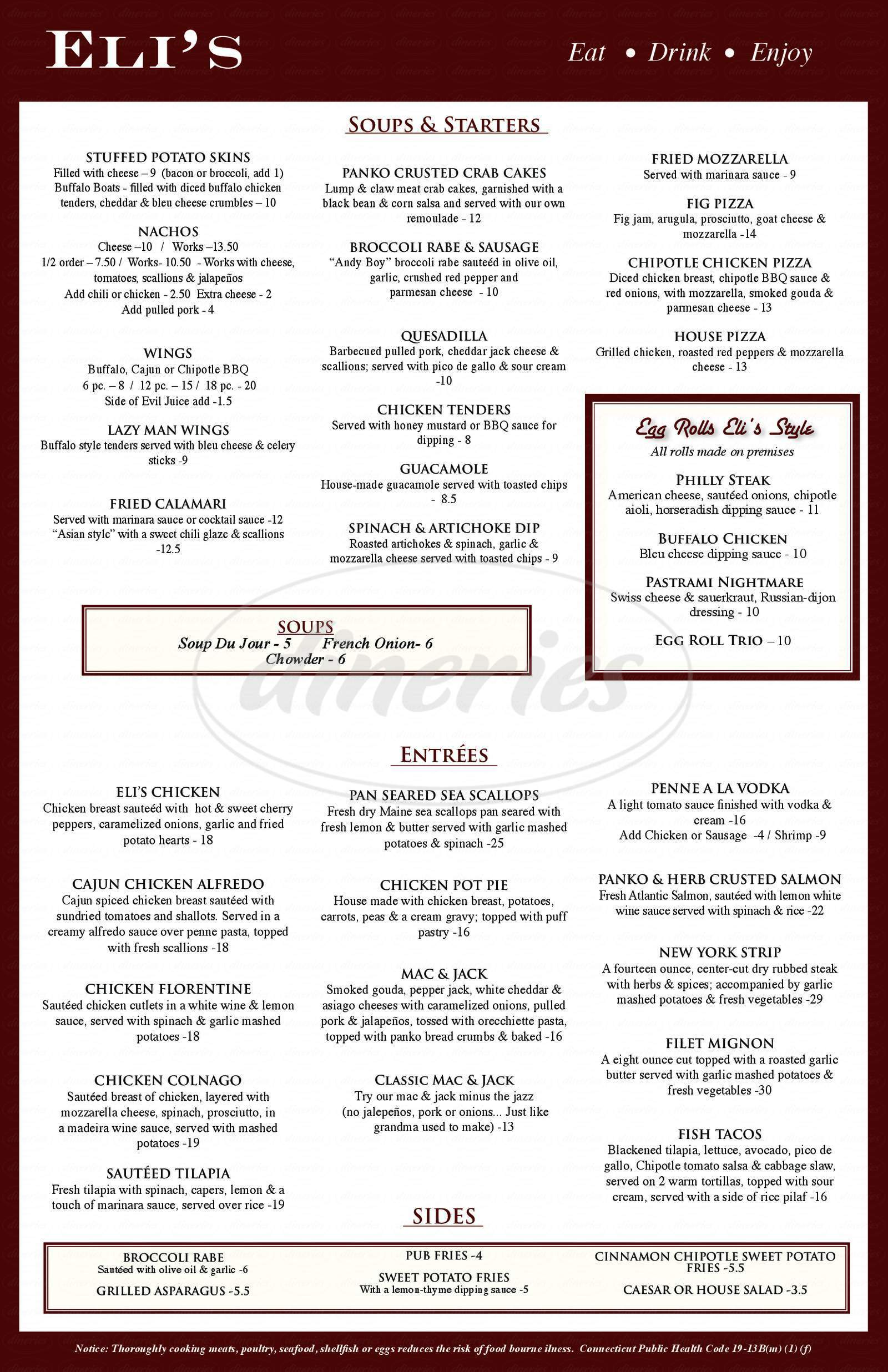 menu for Eli's on the Hill