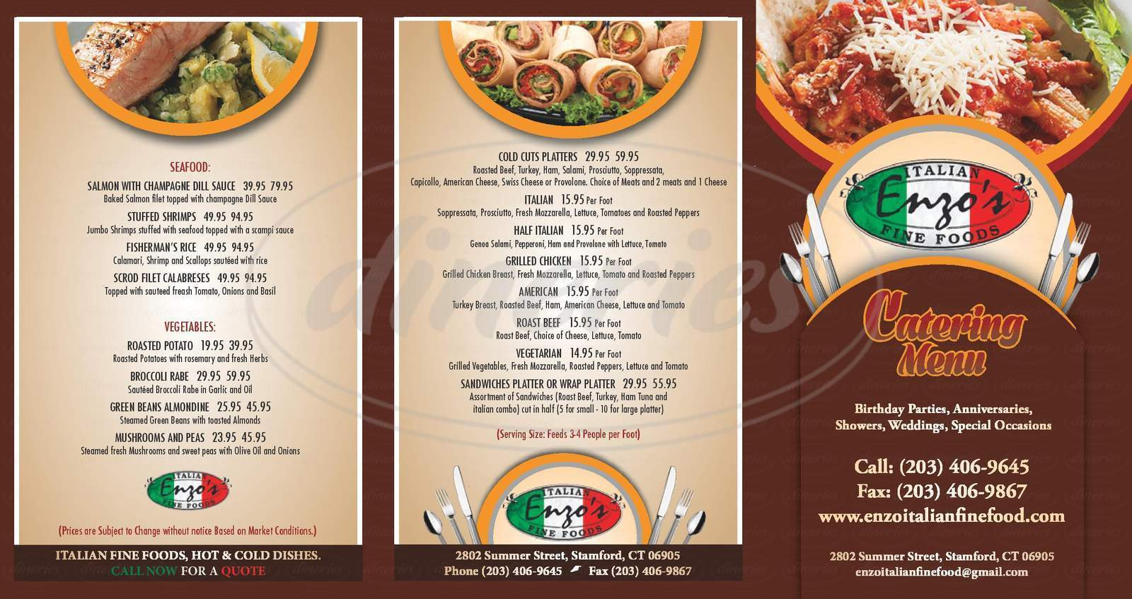 menu for Enzo's Italian Fine Foods