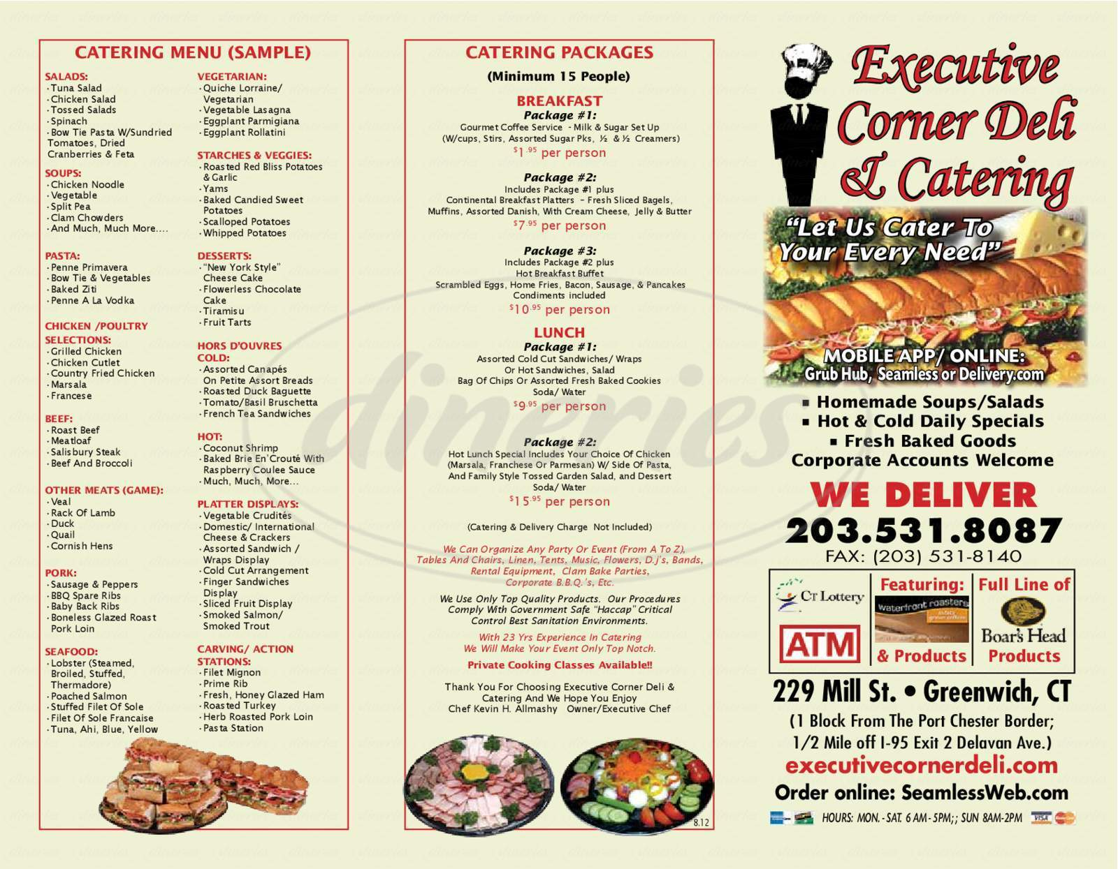 menu for Executive Corner Deli & Catering