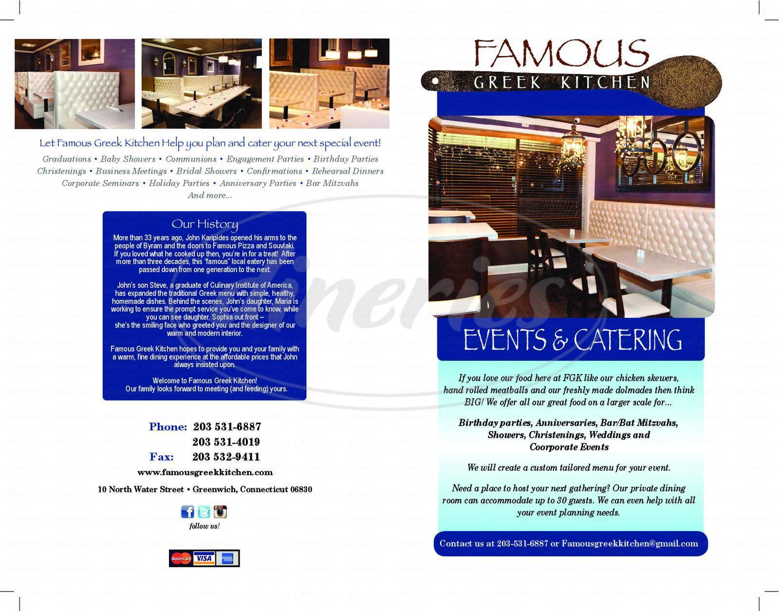 menu for Famous Greek Kitchen