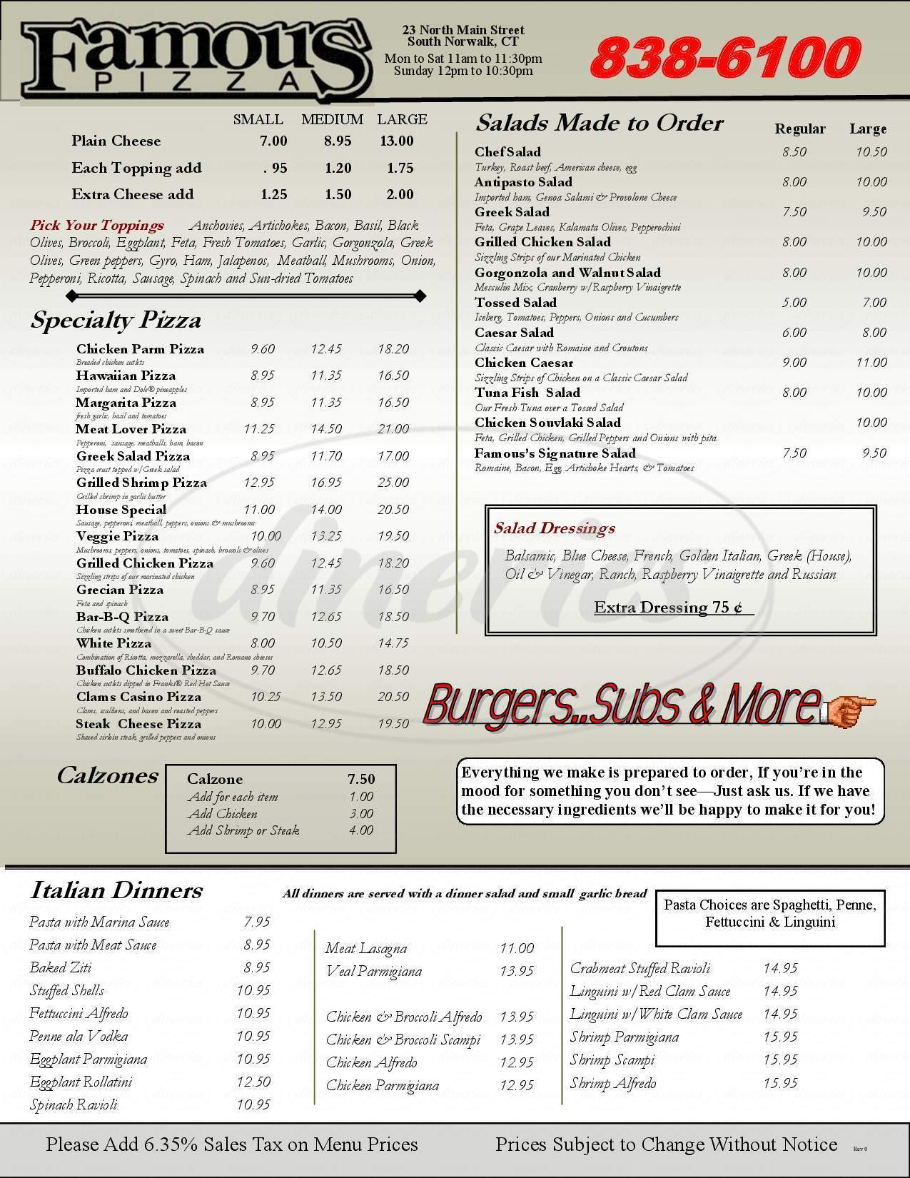 menu for Famous Pizza House