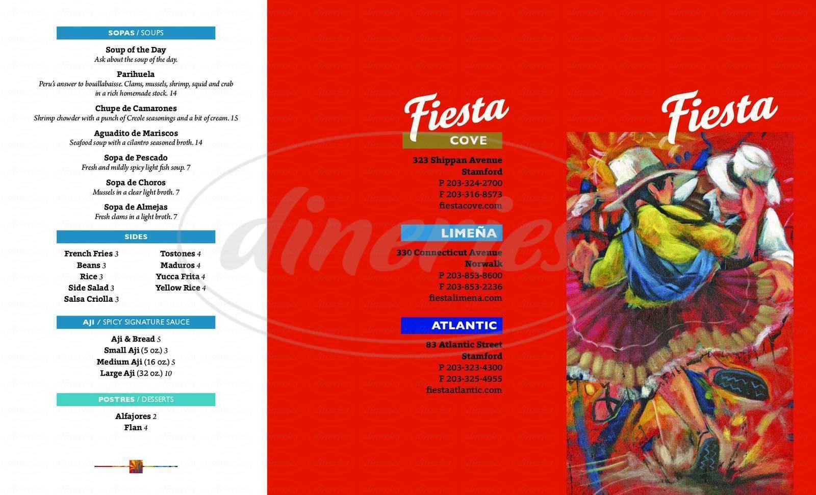 menu for Fiesta Cove Restaurant