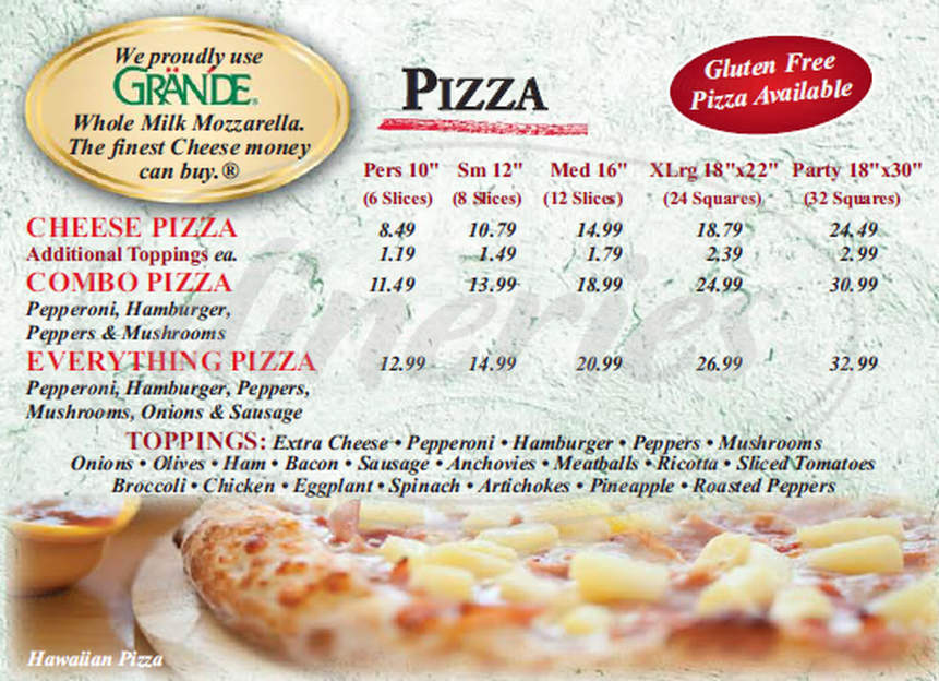 menu for Filomena's Pizzeria