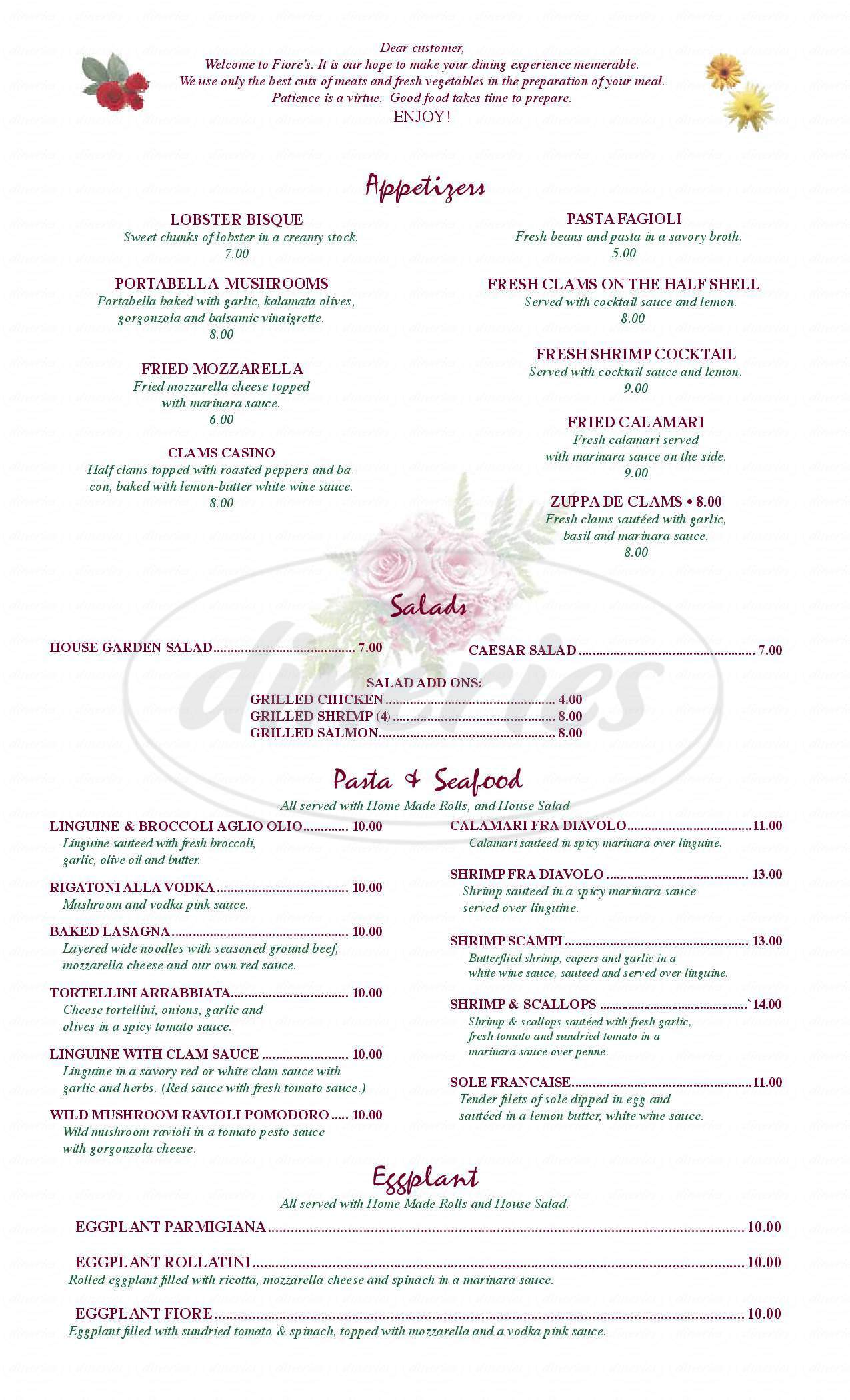 menu for Fiore Restaurant