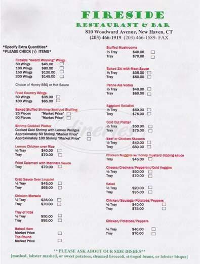 menu for Fireside Restaurant