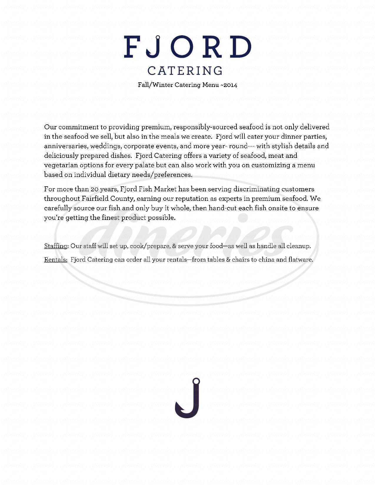 menu for Fjord Catering