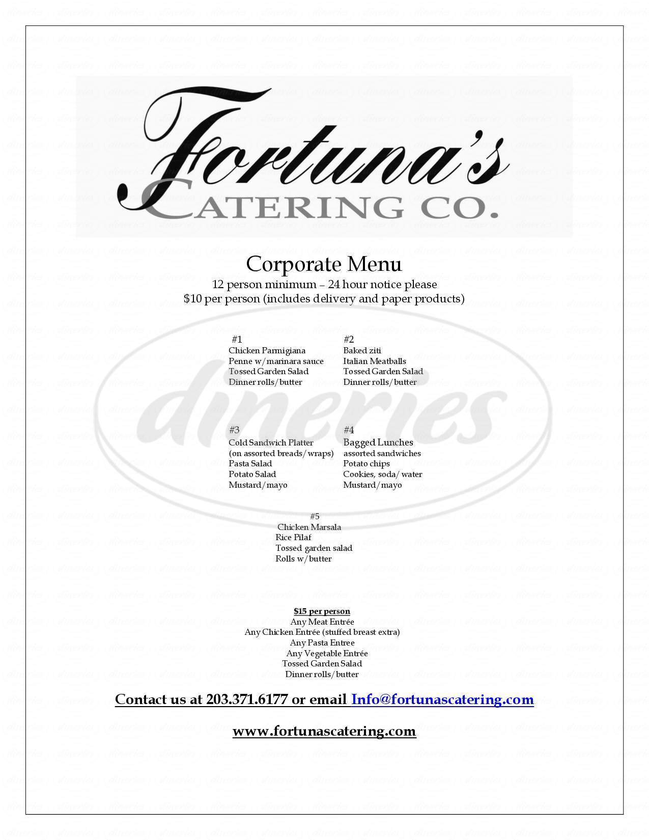 menu for Fortuna's Catering Co.