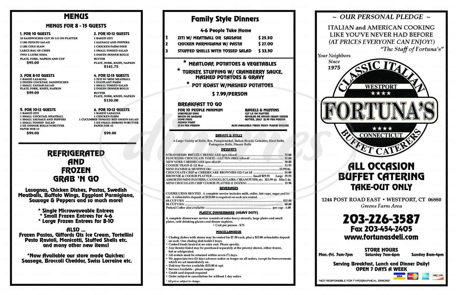 menu for Fortuna's Deli & Caterers of Westport