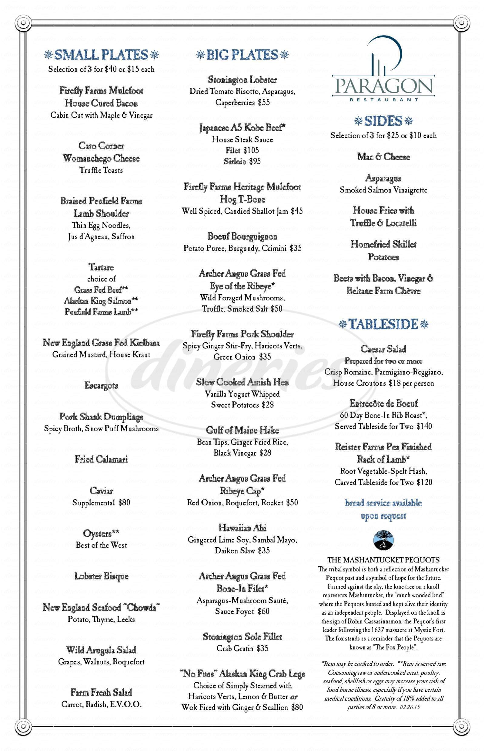 menu for The Paragon Restaurant at Foxwoods