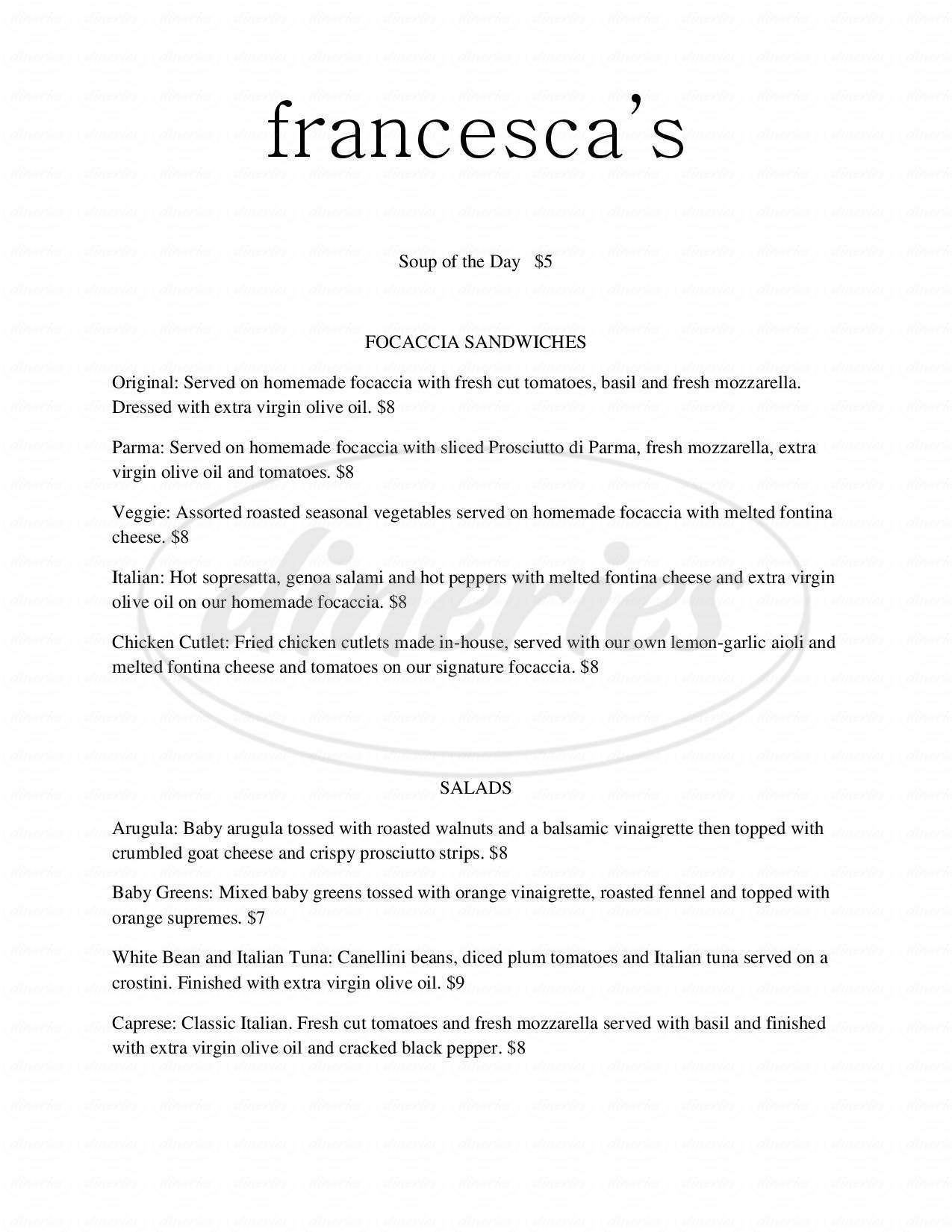 menu for Francesca's Wine Bar and Bistro