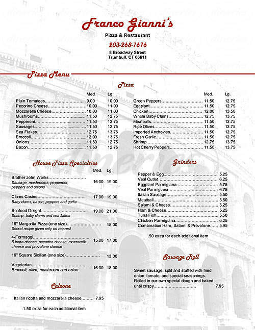 menu for Franco Gianni's Pizza