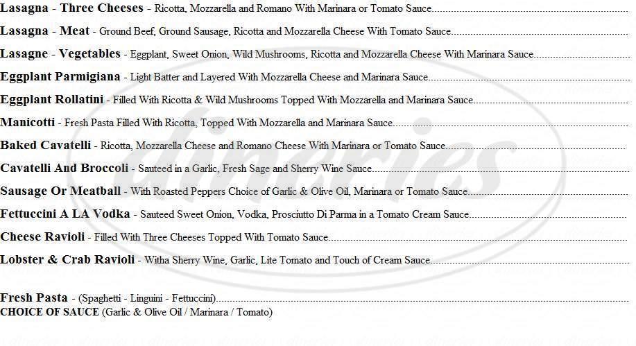 menu for Pasta Fina