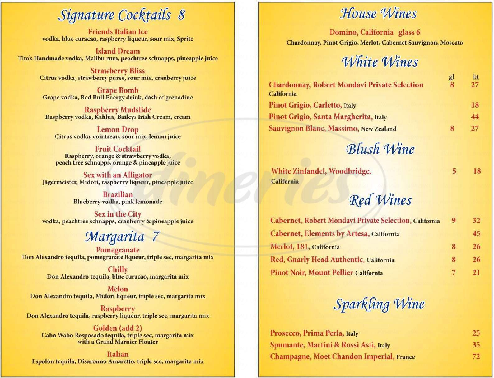 menu for Friends Cafe