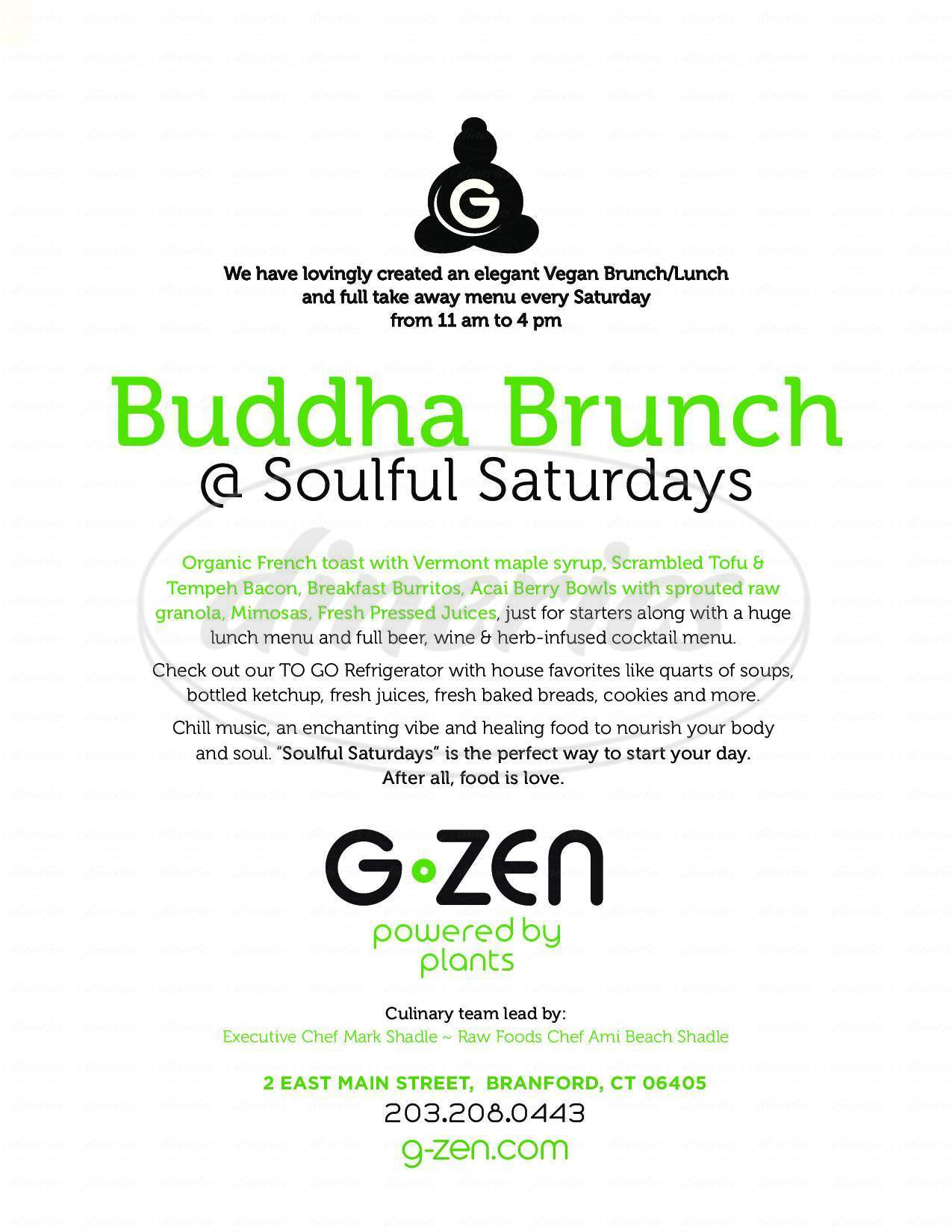 menu for G-Zen Restaurant