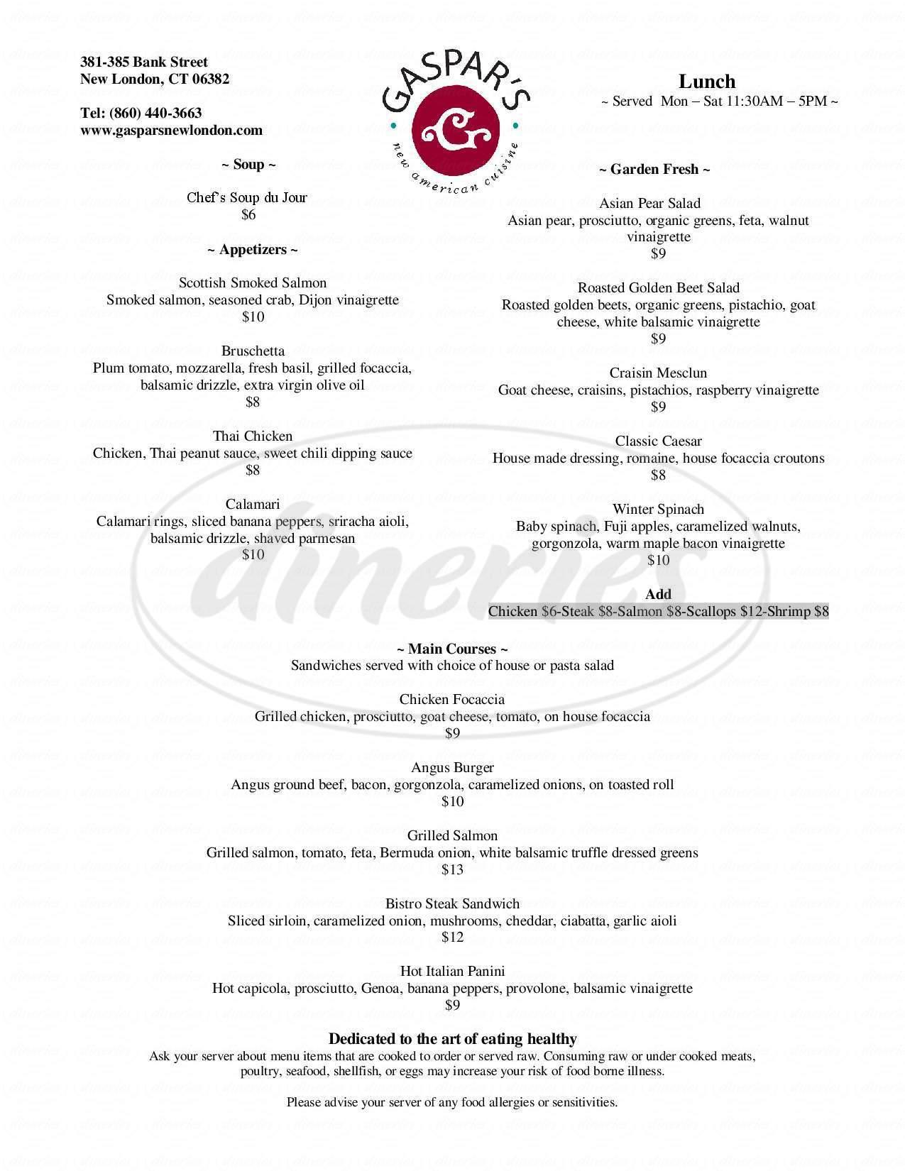 menu for Gaspars