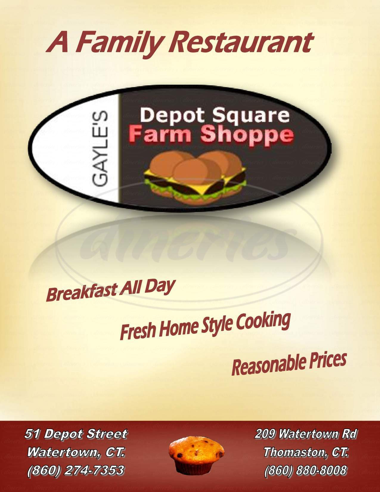 menu for Gayle's Depot Square Farm Shoppe