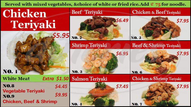 menu for Ginza Express