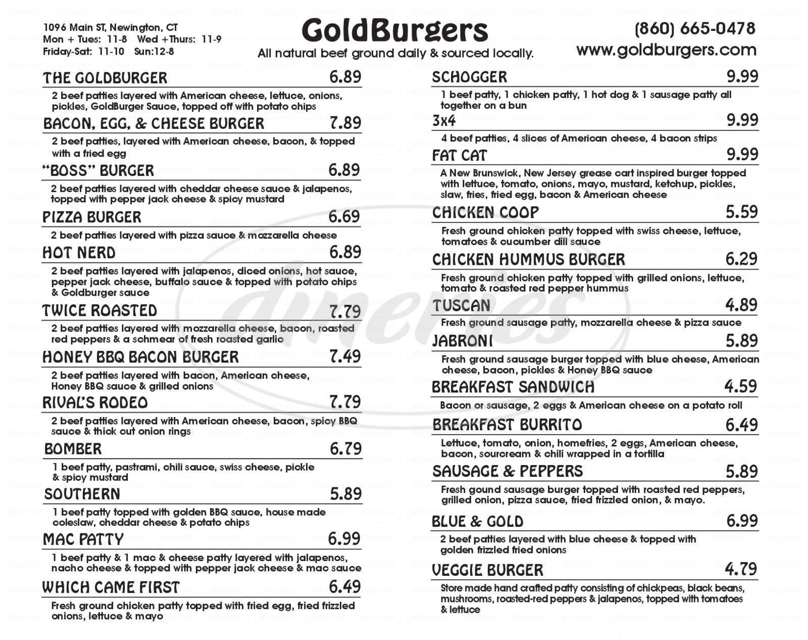 menu for GoldBurgers