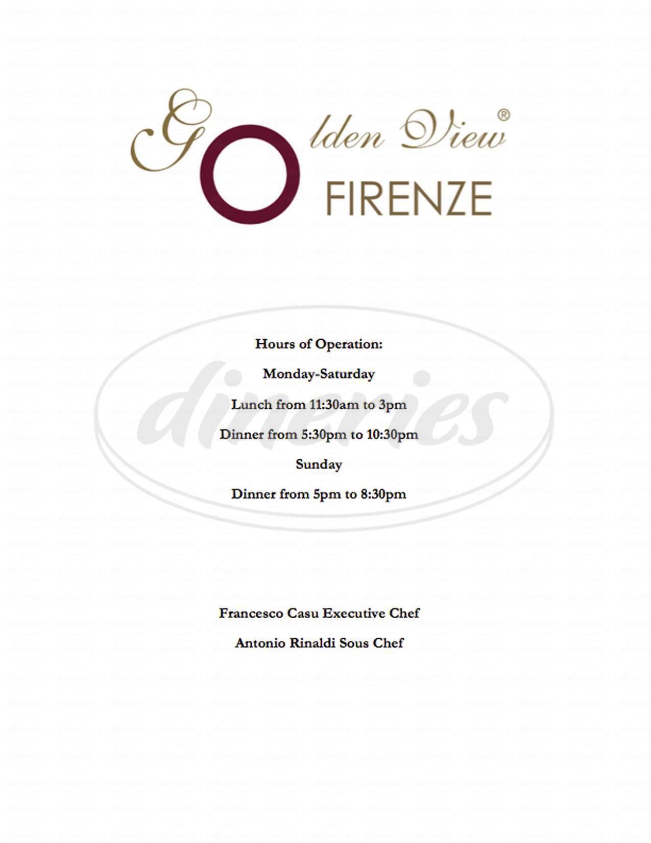 menu for Golden View Firenze