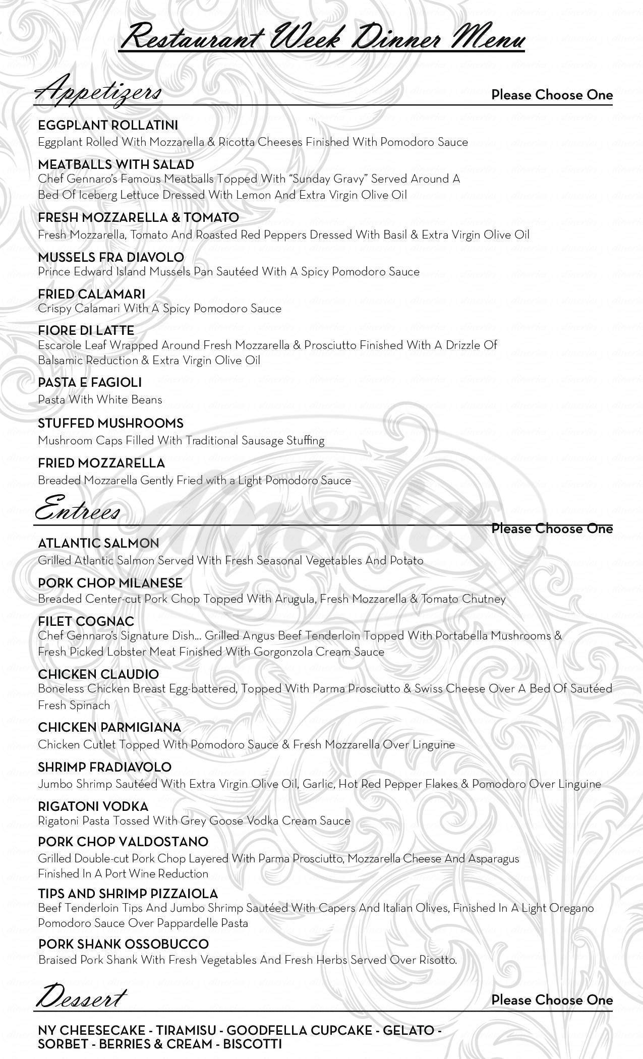 menu for Goodfellas Restaurant