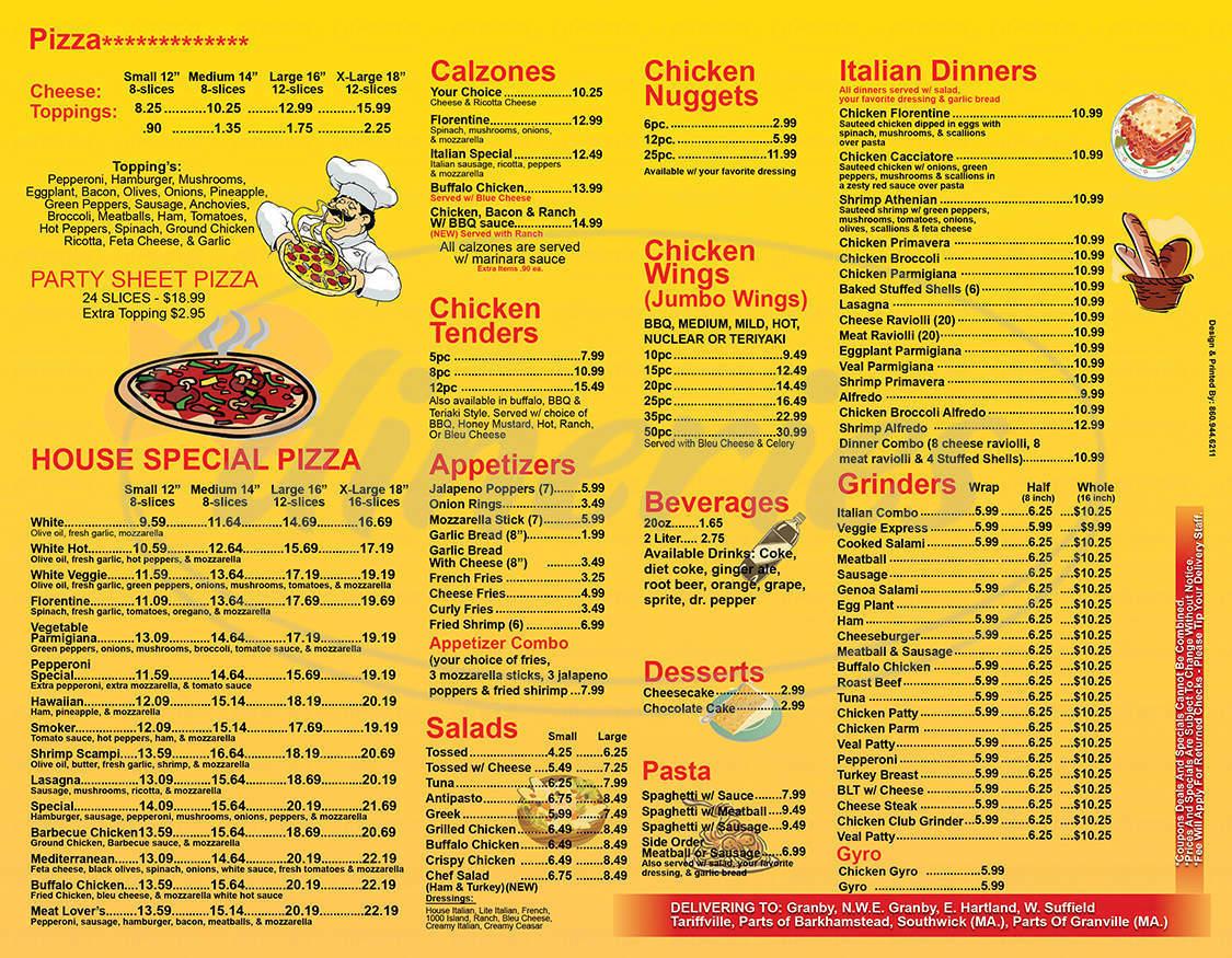 menu for Granby Pizza
