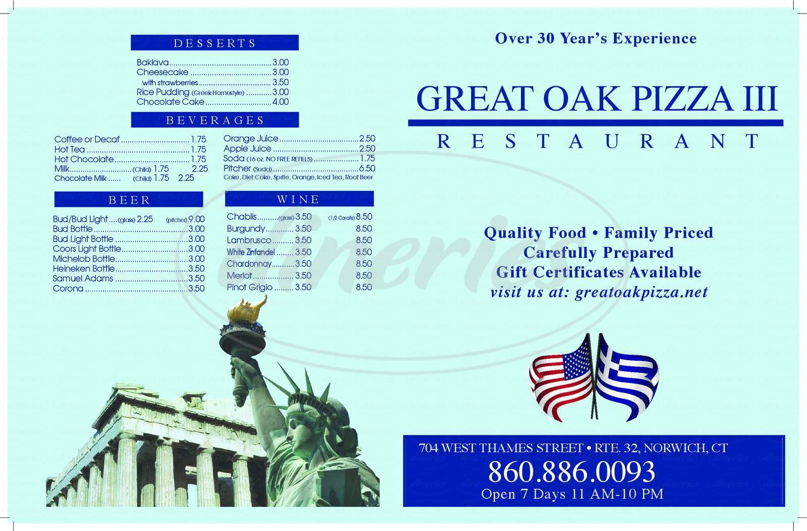 menu for Great Oak Pizza Restaurant III
