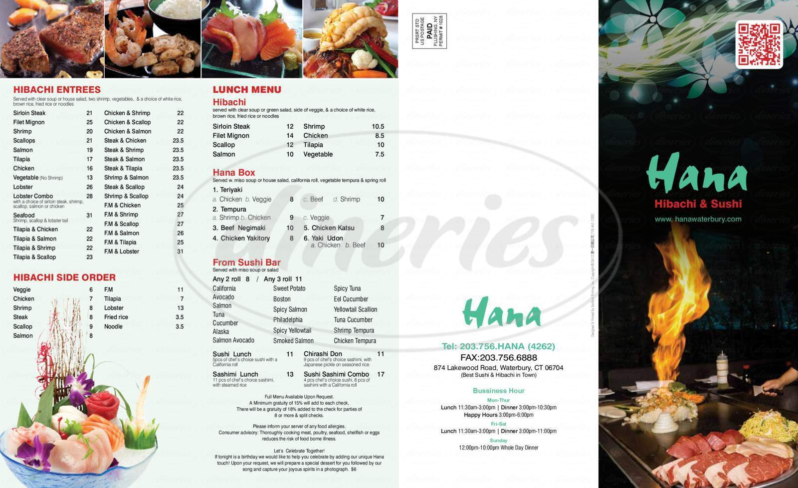 menu for Hana