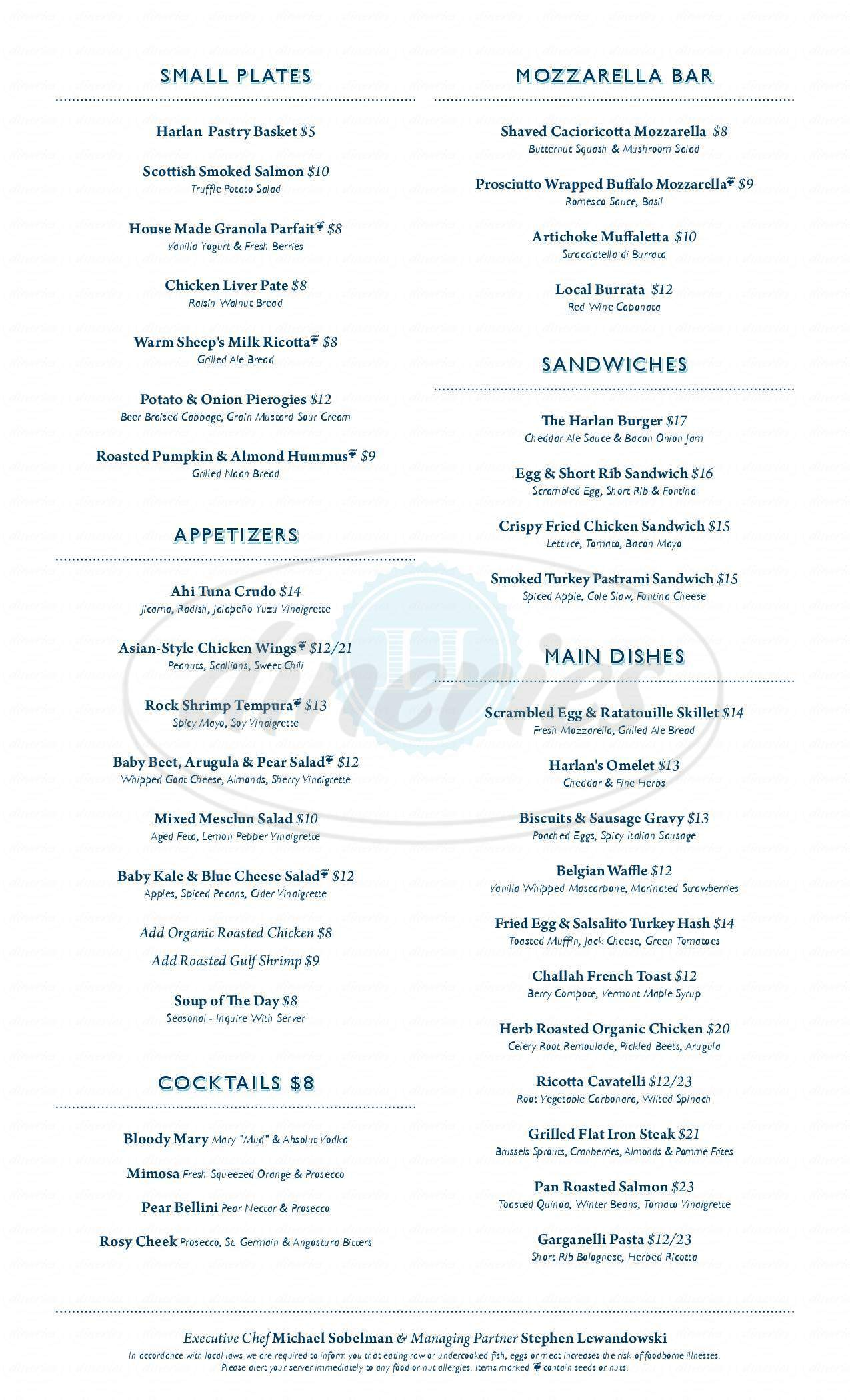 menu for Harlan Social