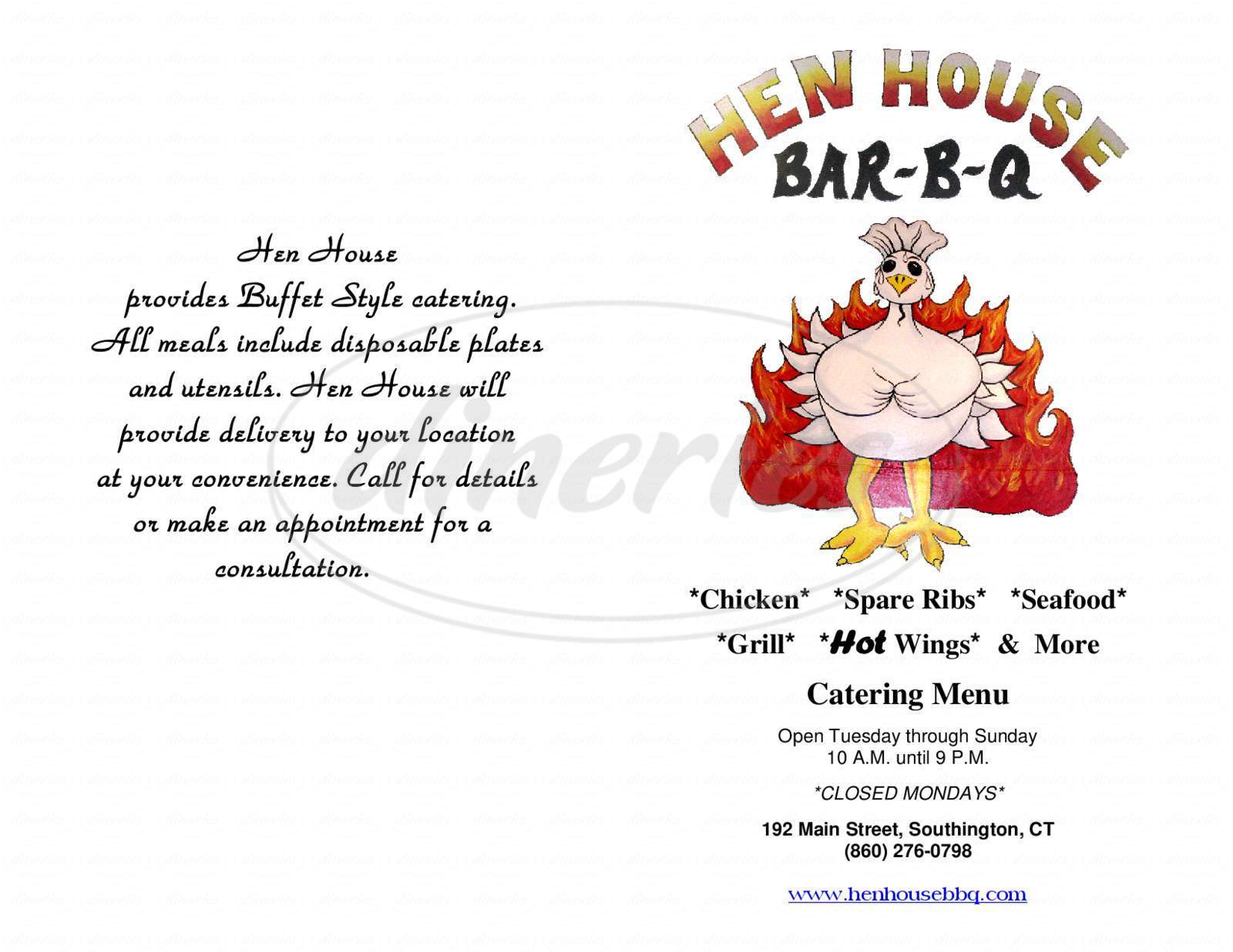 menu for Hen House Bar-B-Q
