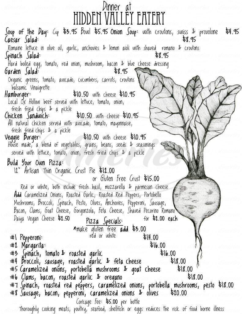 menu for Hidden Valley Eatery