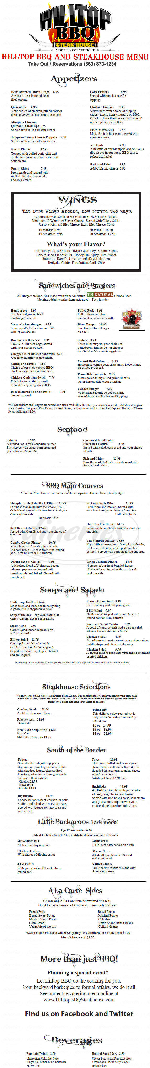 menu for Hilltop Barbecue & Steakhouse