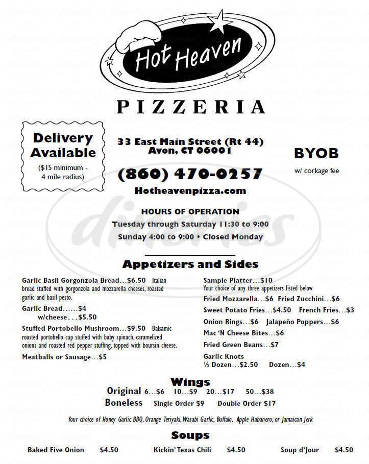 menu for Hot Heaven Pizzeria