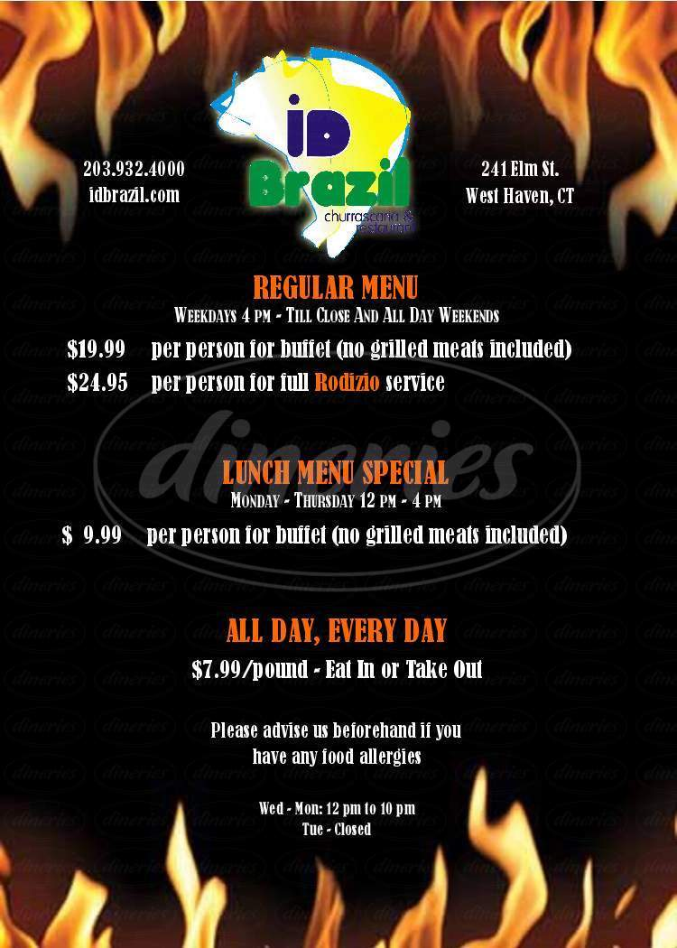 menu for Id Brazil Restaurant