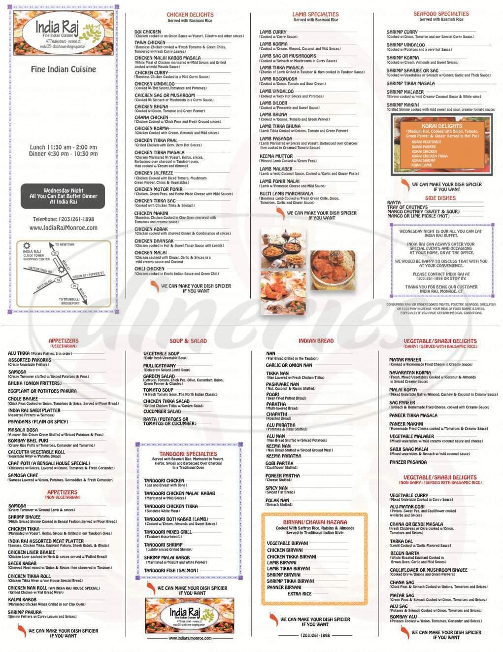 menu for India Raj Restaurant
