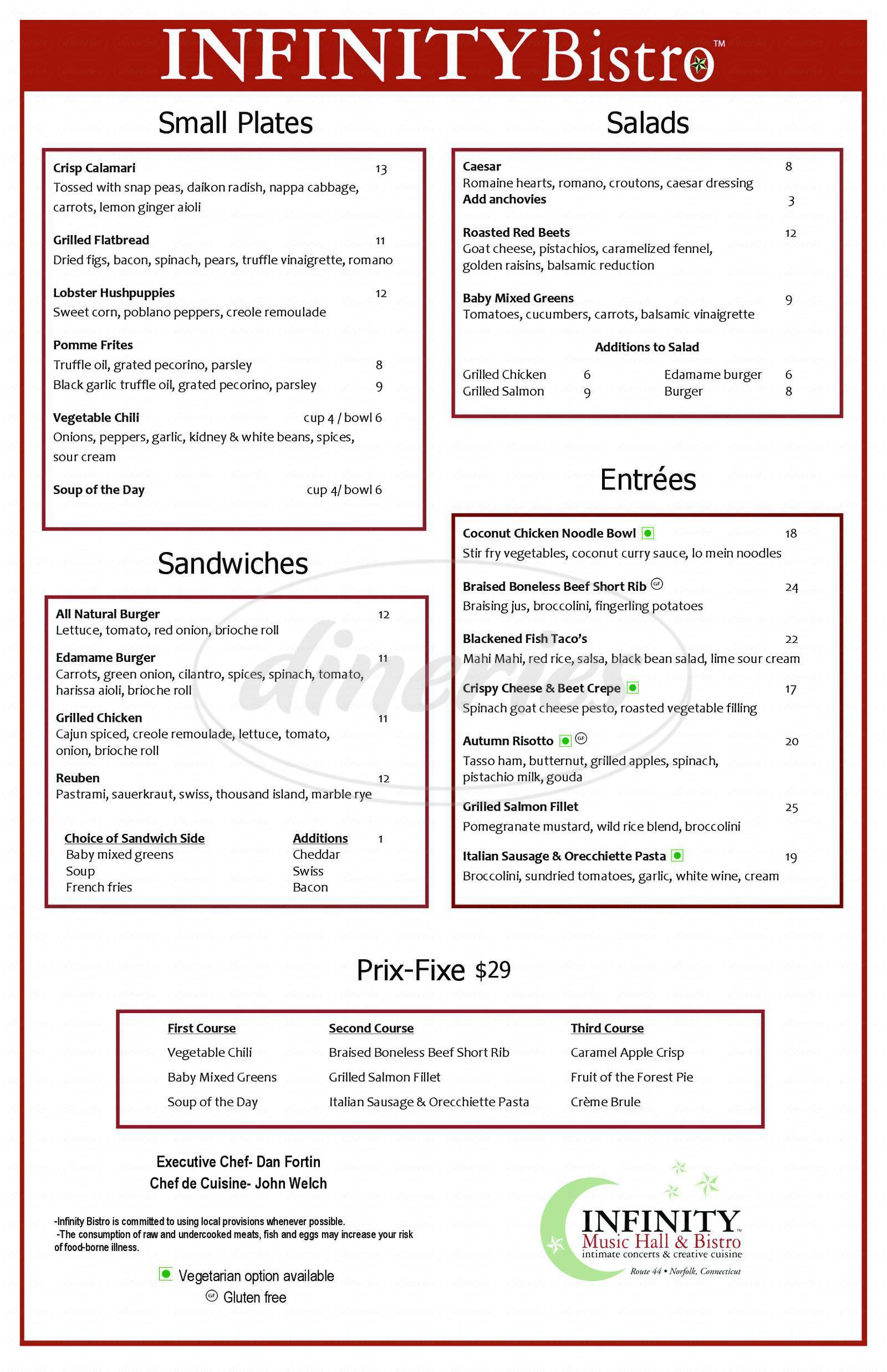 menu for Infinity Bistro