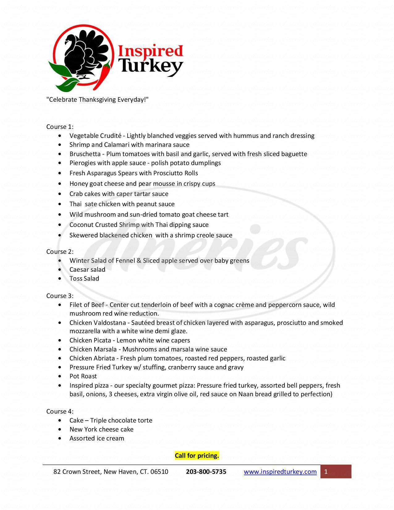 menu for Inspired Turkey
