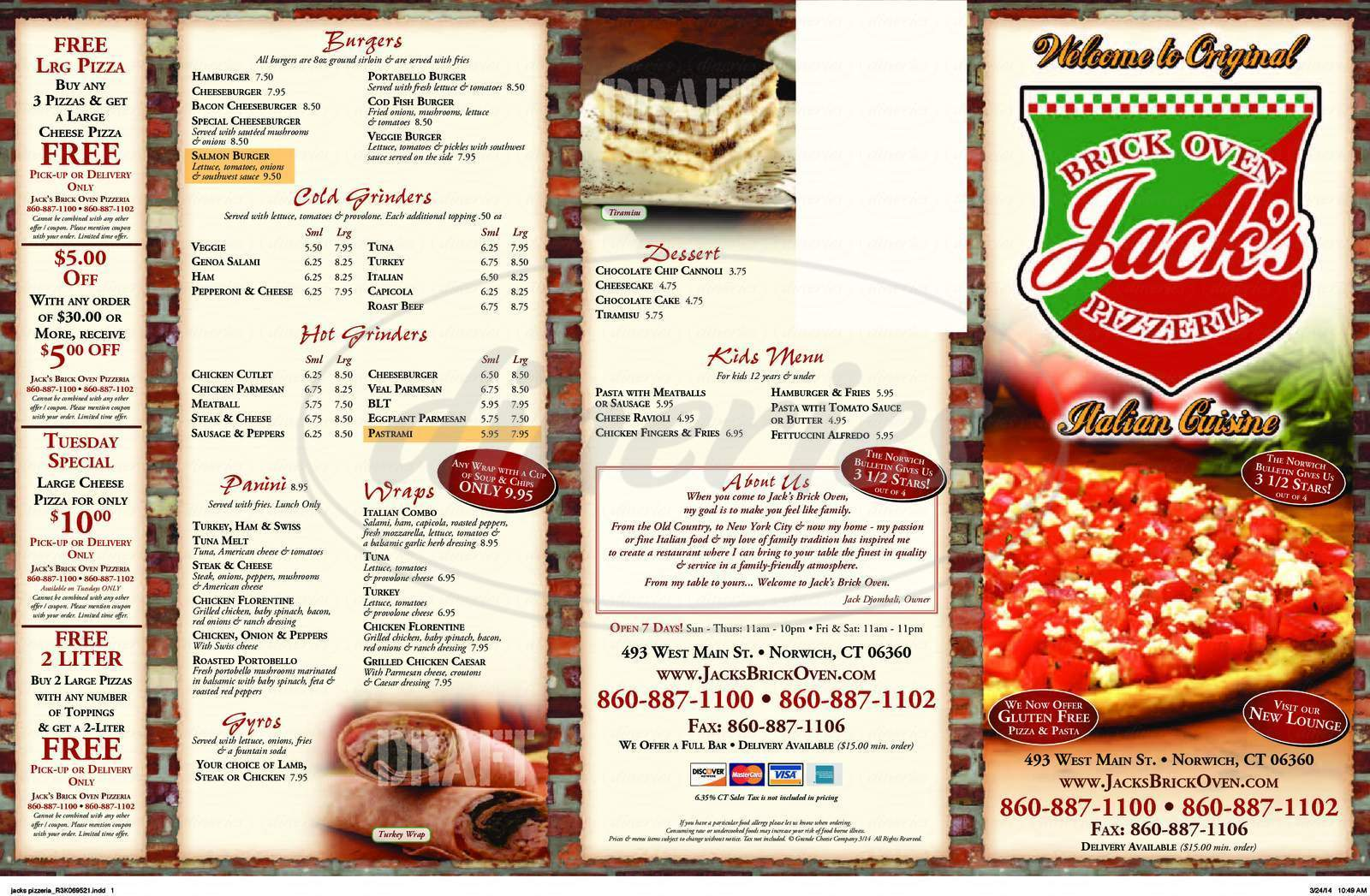 menu for Jack's Brick Oven Pizza