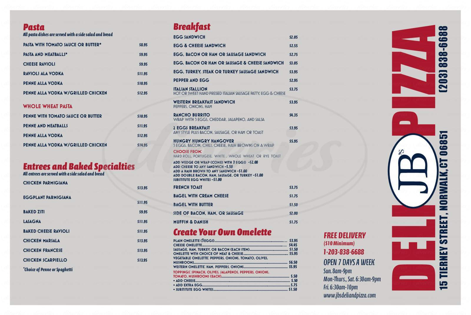 menu for JB's Deli & Pizza