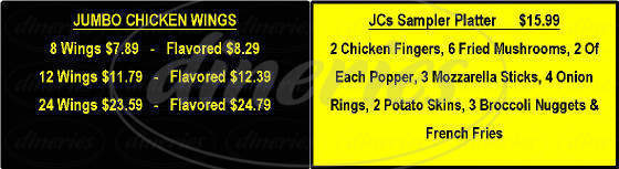 menu for JCs Pizza