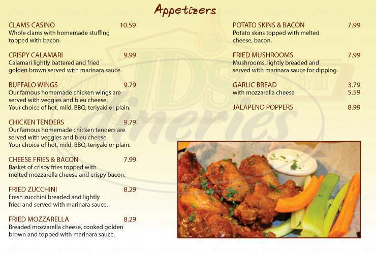 menu for Jd's Pizzeria Bar and Grill