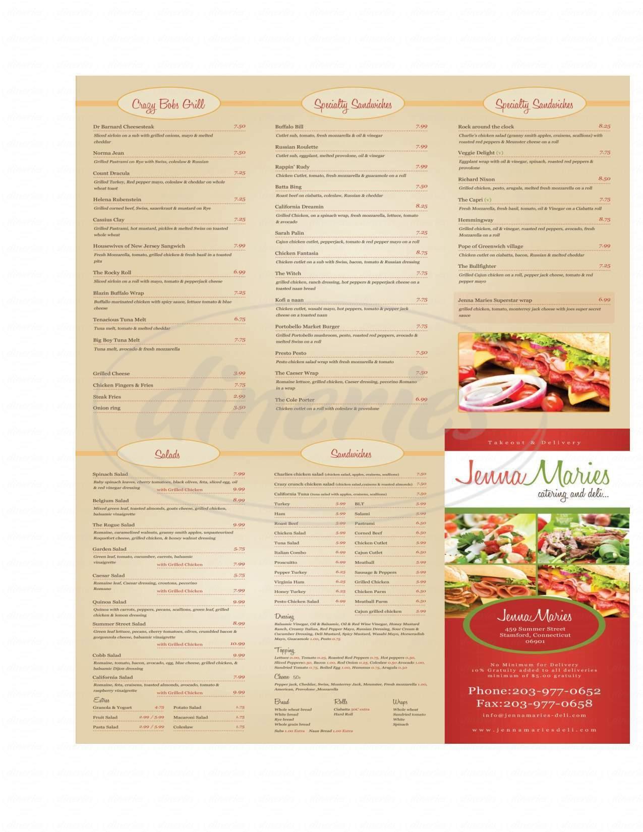 menu for Jenna Marie's Deli