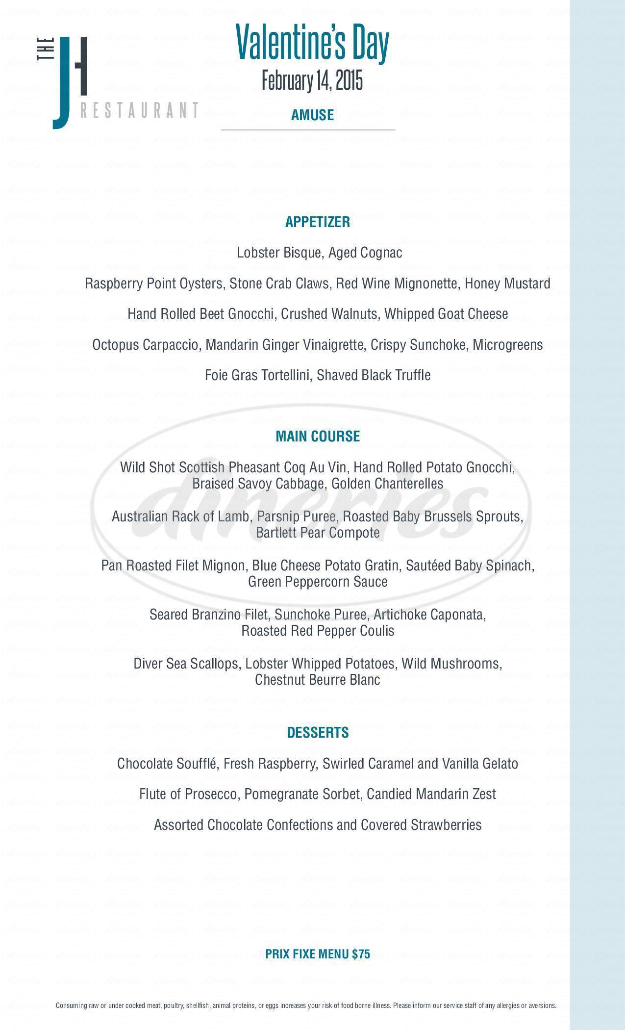 menu for J House Greenwich