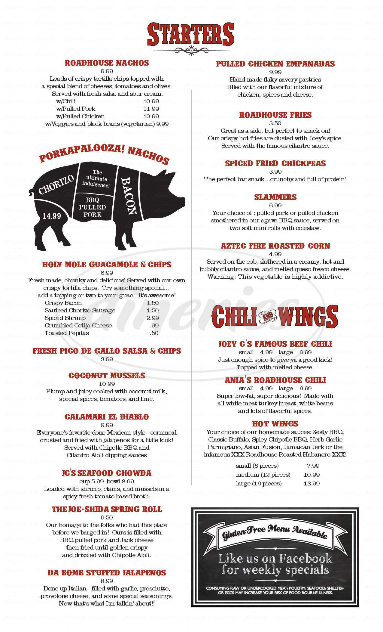 menu for Joey C's Roadhouse BBQ and Tex-Mex