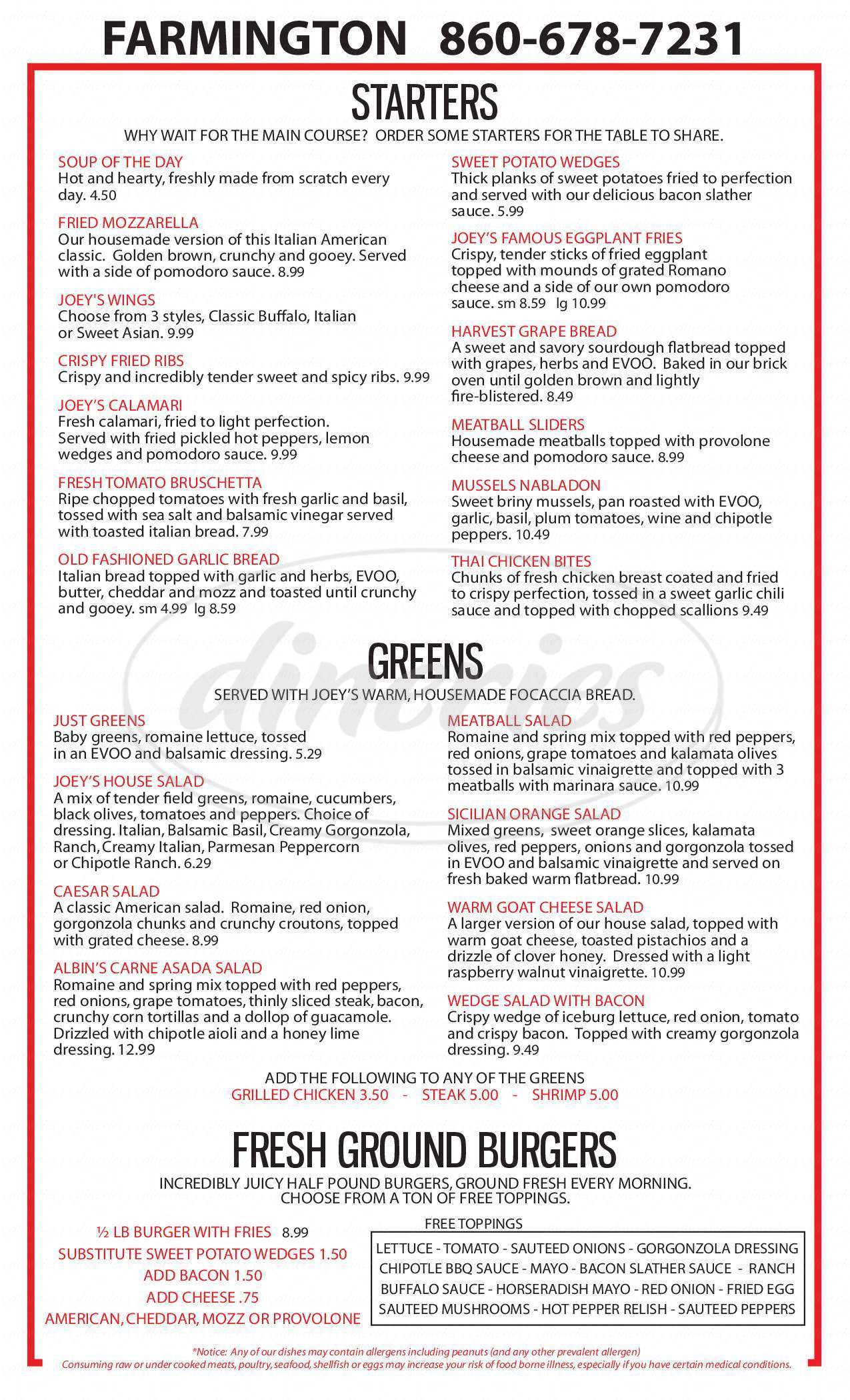 menu for Joey Garlic's